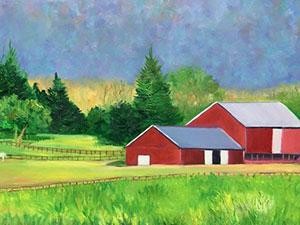 red barns on farm